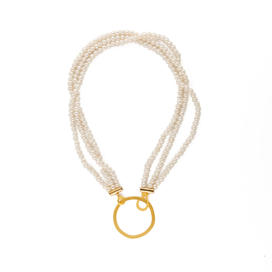 Sarah - Classic pearl and gold necklace & earrings