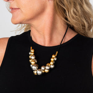 Sophia - Festive gold & silver cluster necklace