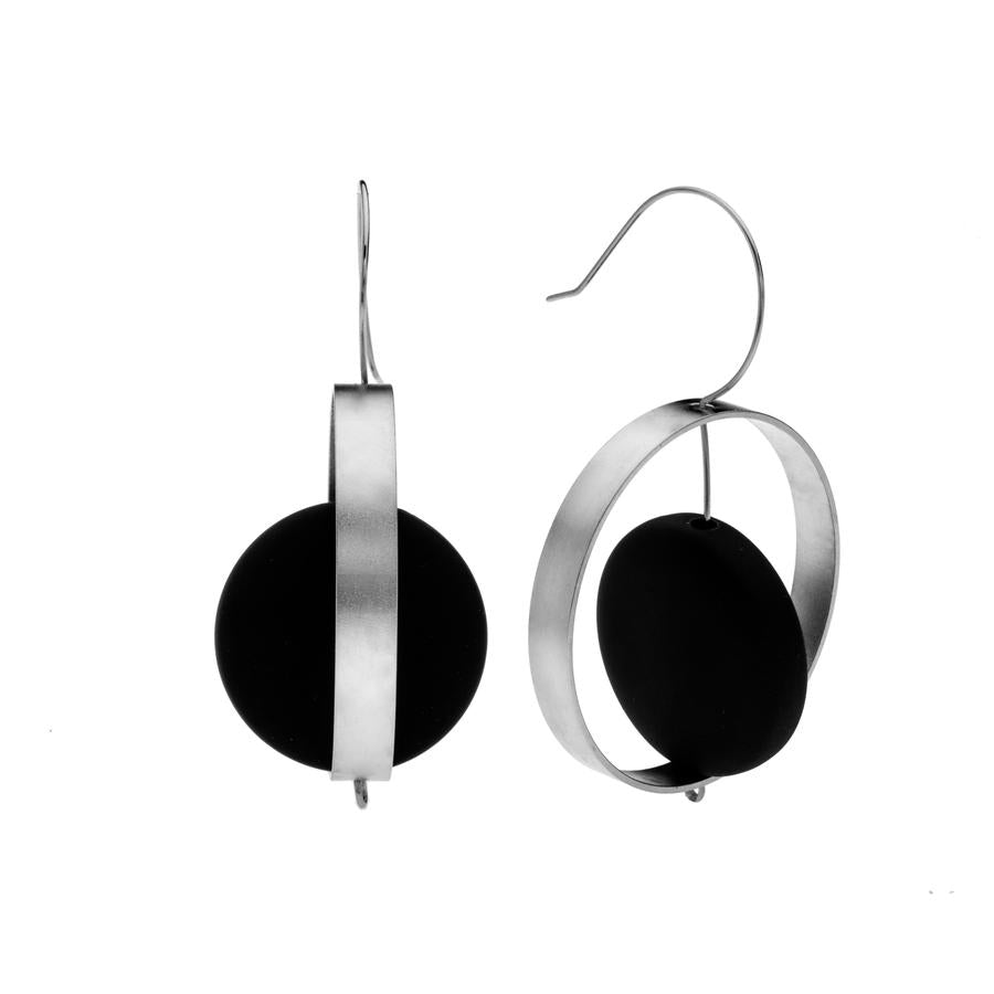 Abigail - Modern 24K Gold & Black Disk Earrings