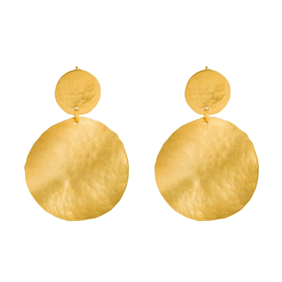 Olivia - Gold hammered metal disc earrings