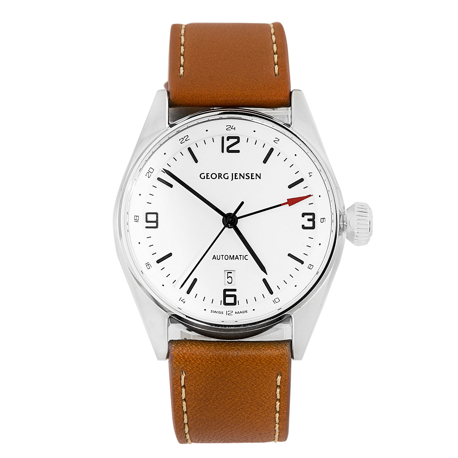 Georg Jensen Delta Classic Dual Time Men's Automatic GMT Watch Swiss Made 3575601
