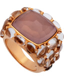 Mimi Milano 18k Rose Gold Rose Rock Crystal and Quartz Pavè Ring A151RQ8J