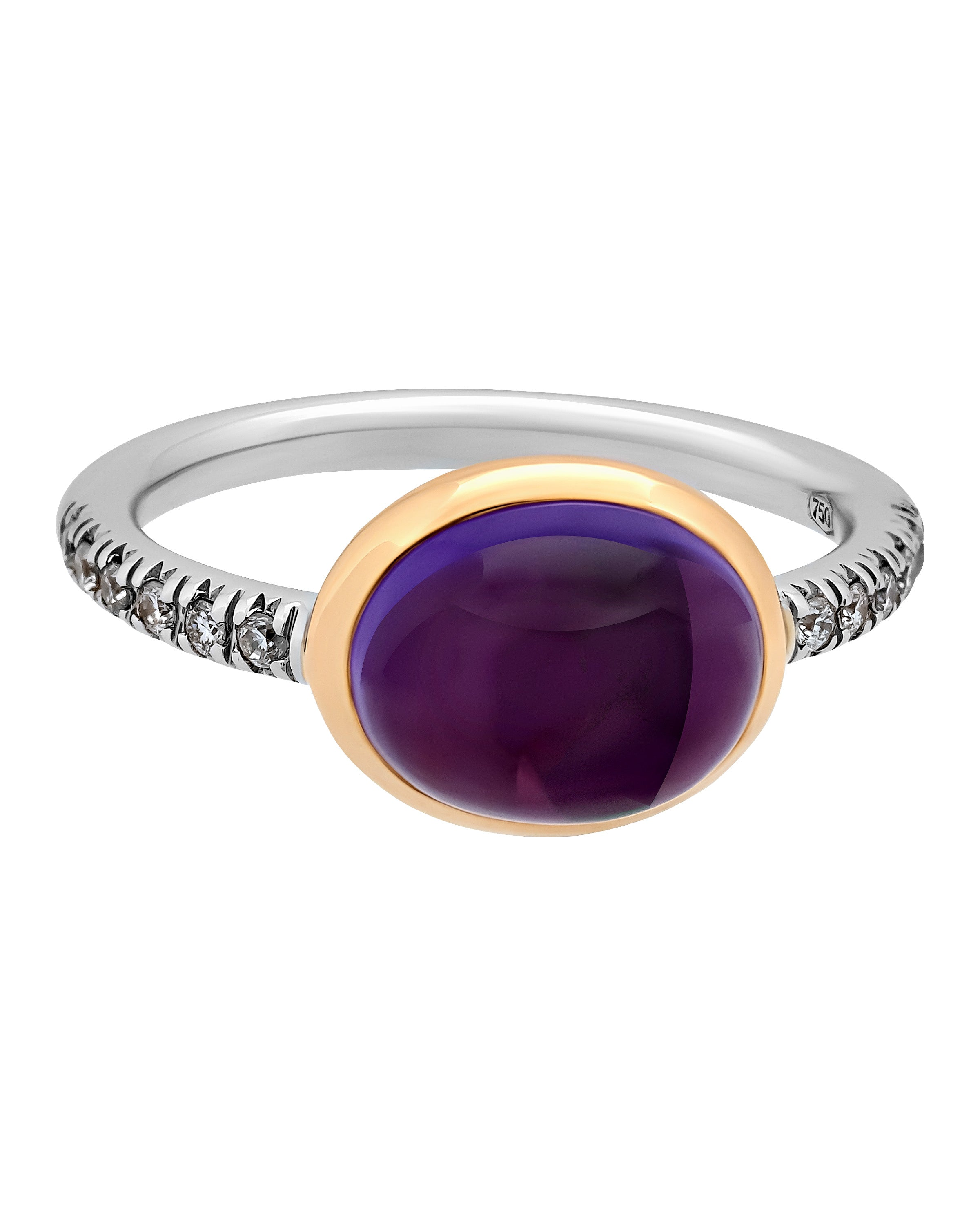 Mimi Milano 18k Rose White Gold Diamonds And Amethyst Ring A298C8AB
