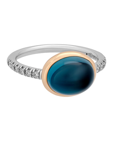 Mimi Milano 18k Rose, White Gold London Blue Topaz and Diamonds Ring A298C8TB