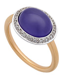Mimi Milano 18k Rose And White Gold Diamonds and Lavender Jade Ring A316C8LB