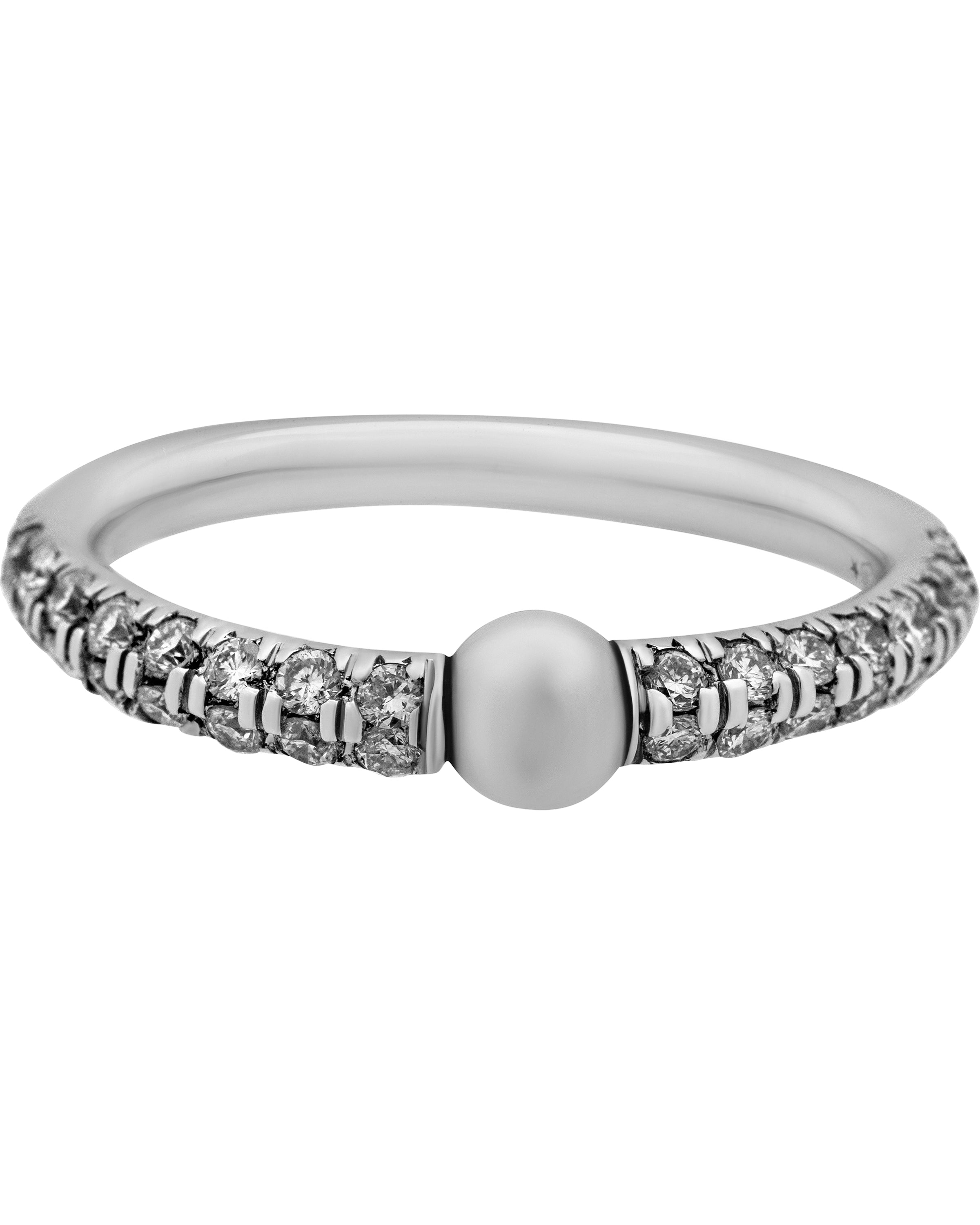 Mimi Milano 18k White Gold Diamond And White Freshwater Pearl Ring A364B1B