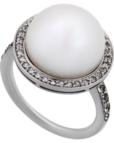 Mimi Milano 18k White Gold Diamond And White Freshwater Pearl Ring A458B1B