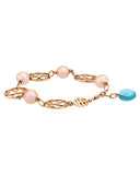 Mimi Milano 18k Rose Gold, Sky Blue Topaz And Pink Pearls Bracelet B286R2T
