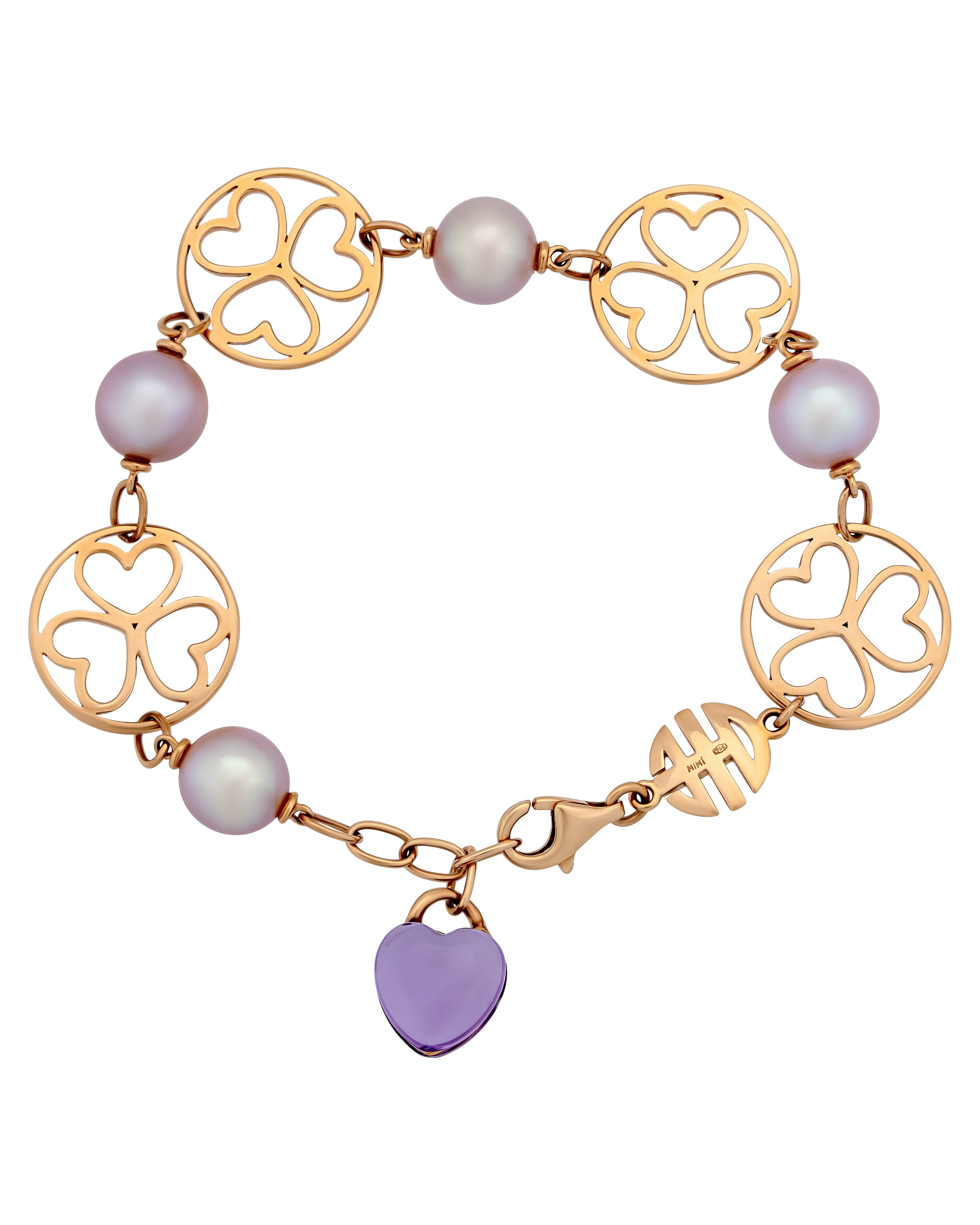 Mimi Milano 18k Rose Gold Violet Amethyst and Freshwater Pearls Bracelet B286R3A