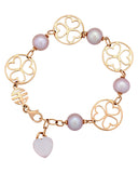 Mimi Milano 18k Rose Gold 18K Rose Quartz And Violet Pearls Bracelet B286R3Q