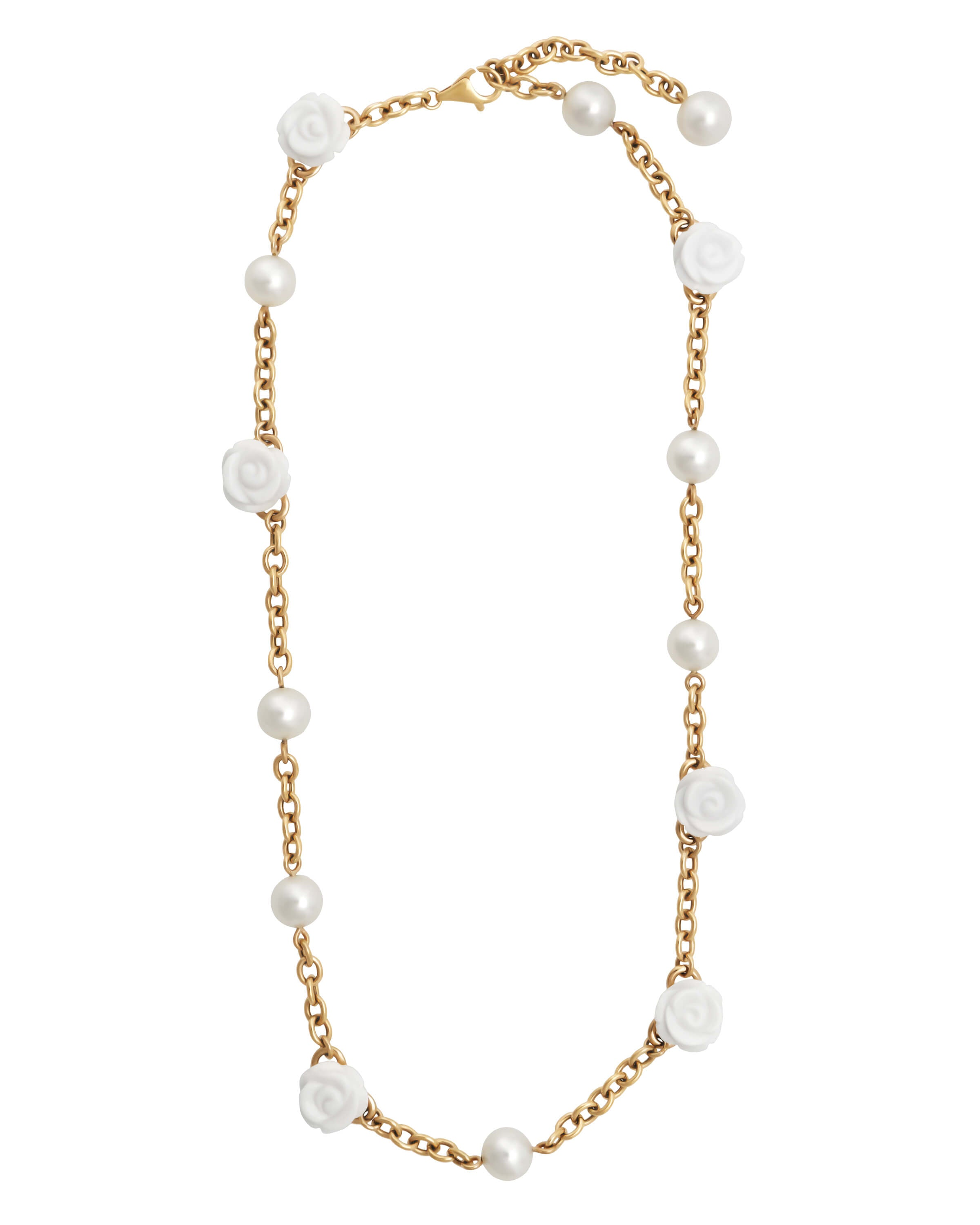 Mimi Milano Necklace In Rose 18K Gold White Agate And White Freshwater Pearls C190R1A1