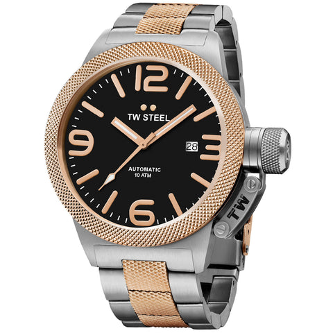 Canteen Bracelet Rose Gold Black Dial Automatic Men's Watch CB135-Luxury Watches | Mens And Ladies Luxury Watches | Upscale Time