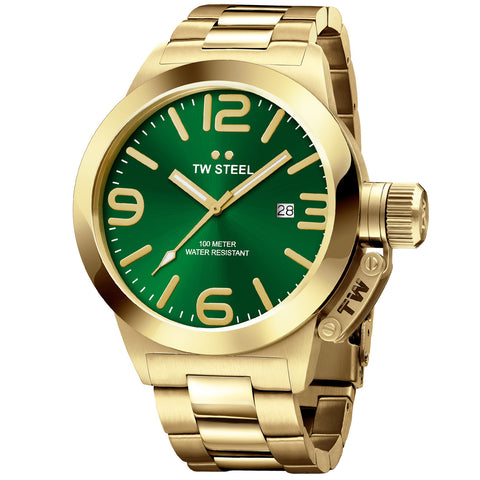 Canteen Bracelet Yellow Gold Plated Green Dial Quartz Men's Watch CB221-Luxury Watches | Mens And Ladies Luxury Watches | Upscale Time