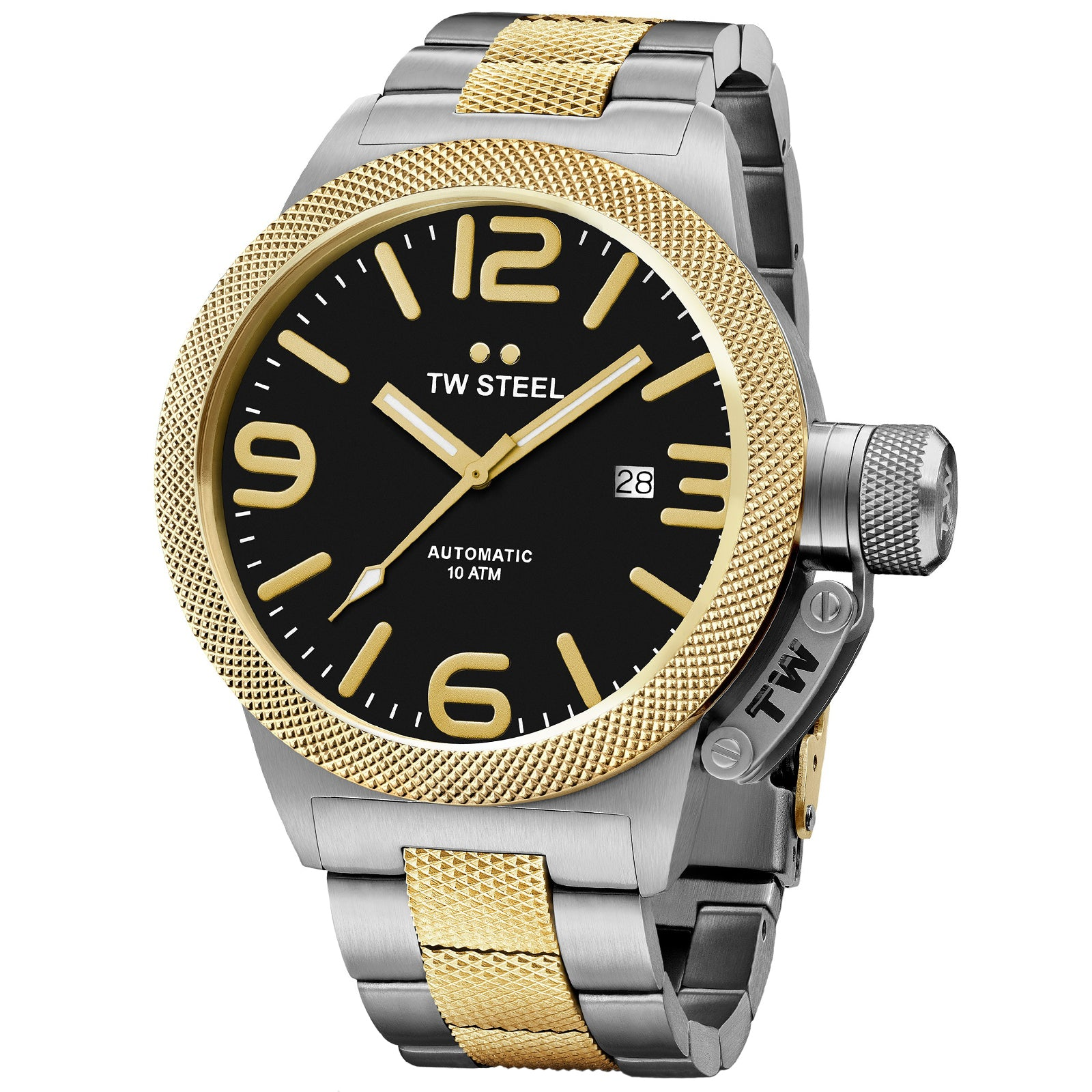 Canteen Bracelet Yellow Gold Plated Black Dial Automatic Men's Watch CB45-Luxury Watches | Mens And Ladies Luxury Watches | Upscale Time