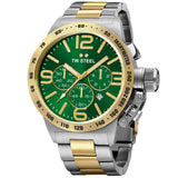 Canteen Bracelet Yellow Gold Plated Green Dial Chronograph Quartz Men's Watch CB63-Luxury Watches | Mens And Ladies Luxury Watches | Upscale Time