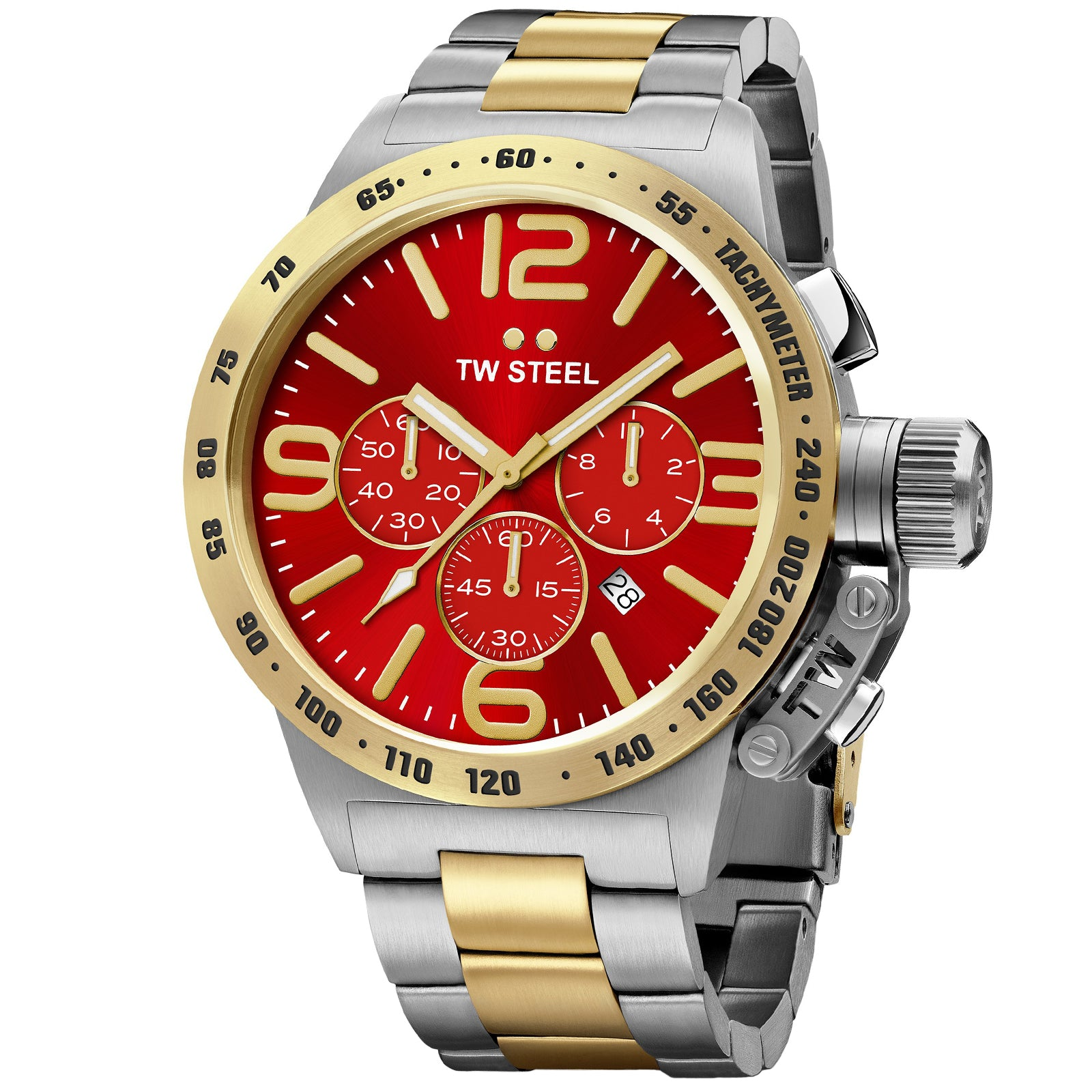 Canteen Bracelet Yellow Gold Plated Red Dial Chronograph Quartz Men's Watch CB73-Luxury Watches | Mens And Ladies Luxury Watches | Upscale Time