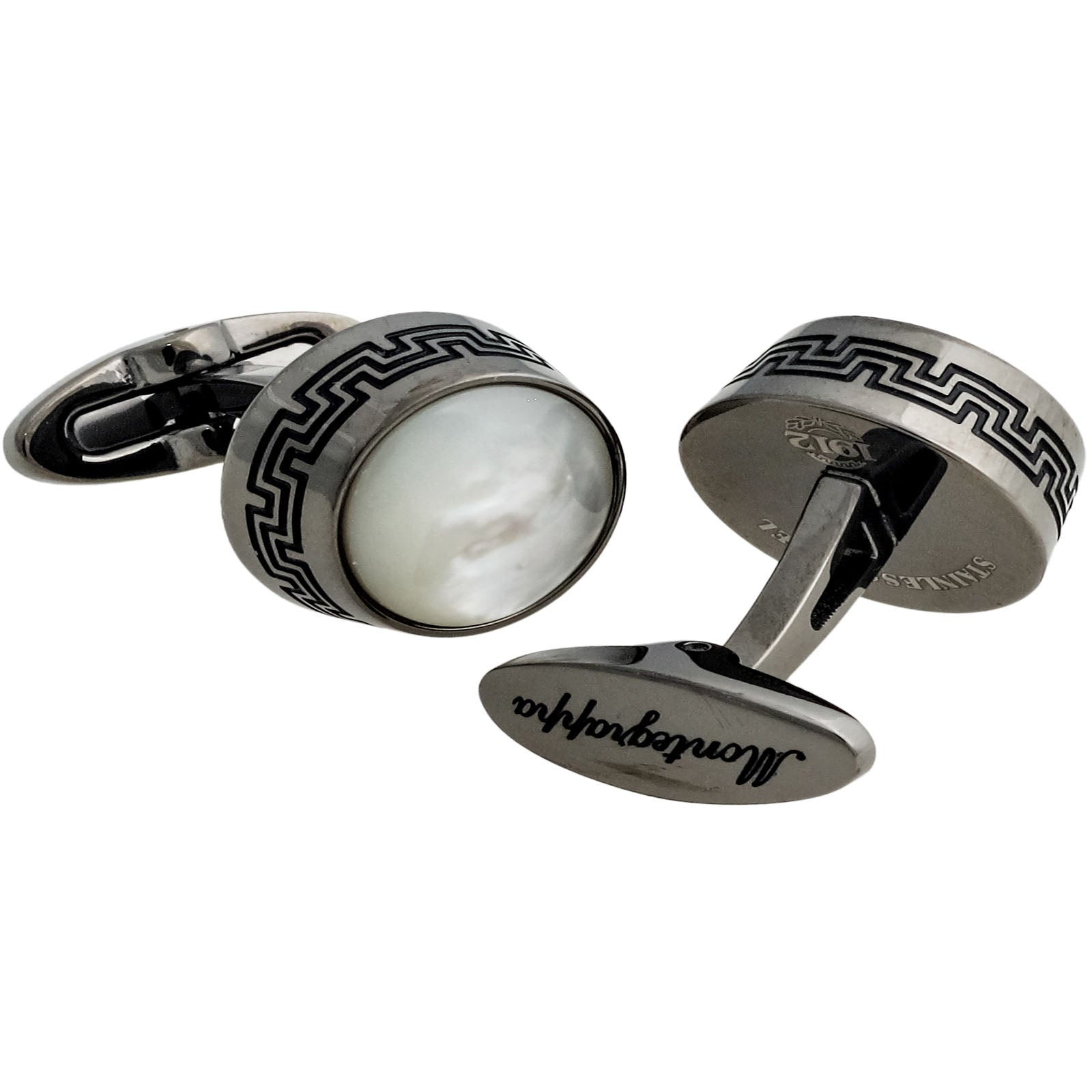 Extra Stainless Steel Mother of Pearl Cufflinks IDEXCLI7-Luxury Watches | Mens And Ladies Luxury Watches | Upscale Time
