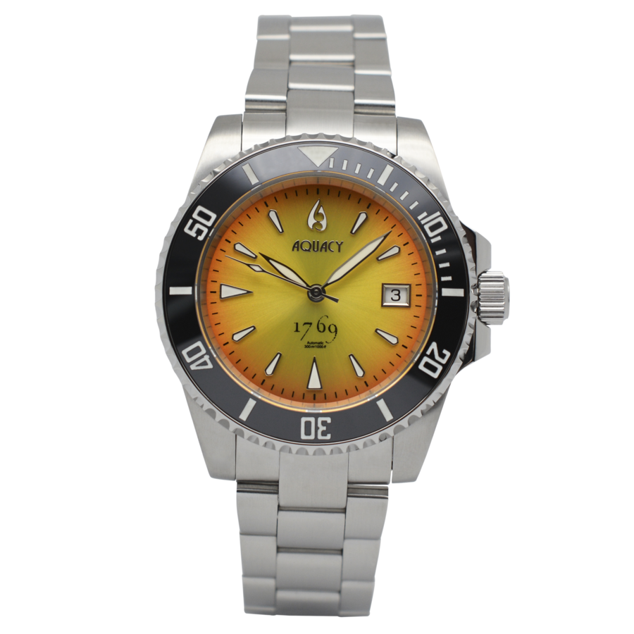 Aquacy 1769 Hei Matau Men's Automatic 300M Vintage Orange/Yellow Dive Watch Miyota 9015 1769.OY.B.S