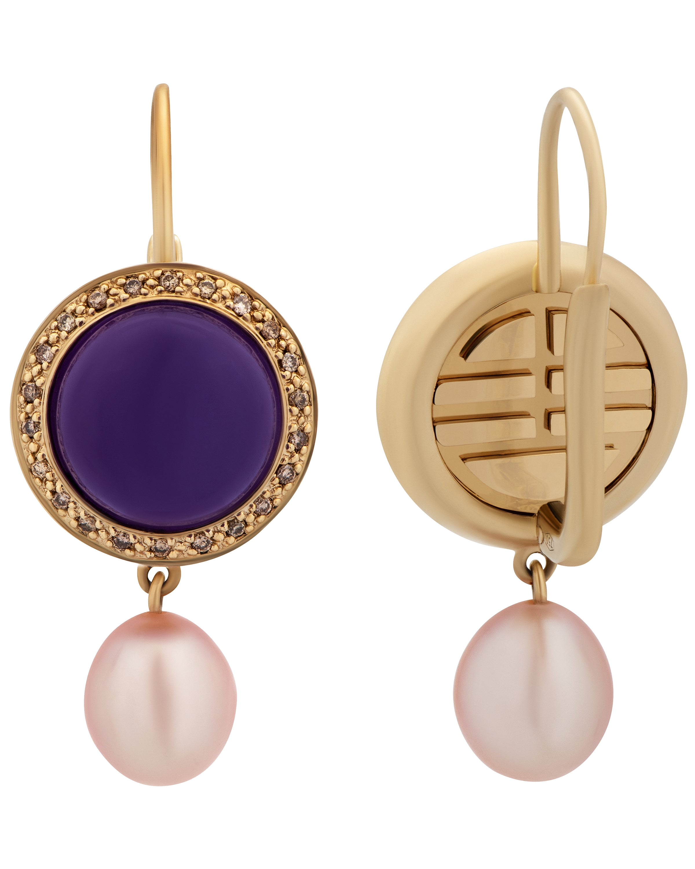 Mimi Milano 18k Gold Diamond And Lavender Jade Violet Freshwater Pearl O150CL3M