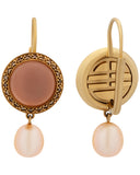 Mimi Milano 18k Gold Cognac Diamonds And Rose Quartz Pink Pearl Earring O150RQ2M