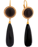 Mimi Milano 18k Rose Gold Diamond And Smoky Quartz Black Agate Earring O157CF8OM