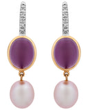 Mimi Milano 18K Rose & White Gold,Pearls,Amethyst And Diamonds Earrings O299C3AB