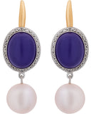 Mimi Milano 18K White Rose Gold,Lavender Jade,Pearls,Diamonds Earrings O319C3LB