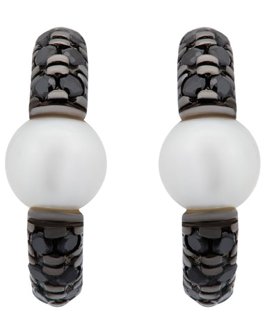 Mimi Milano 18k White Gold Black Diamond and White Pearl Earring O365B1N