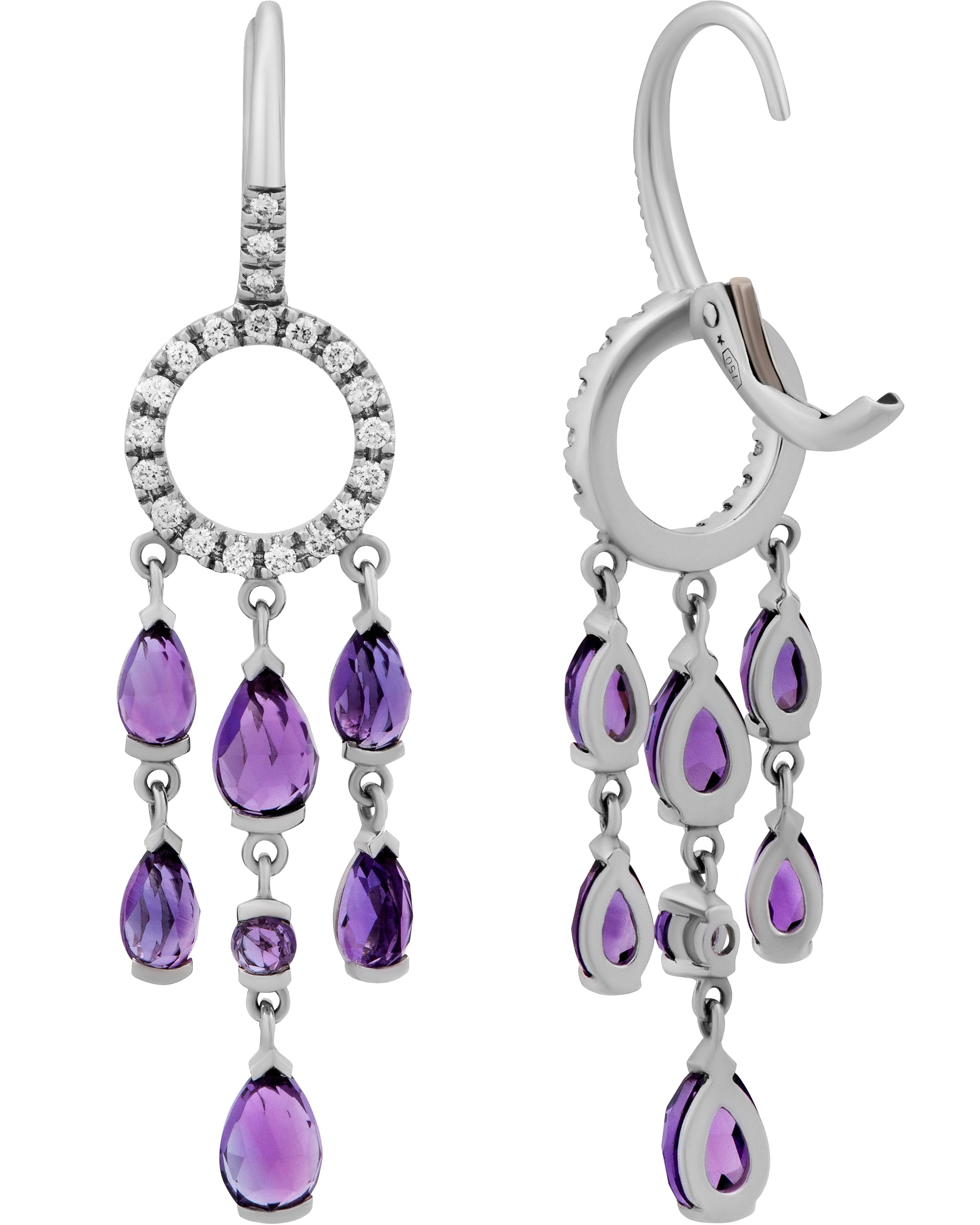 Mimi Milano 18k White Gold, Diamonds and Amethyst Earrings O381B8AB