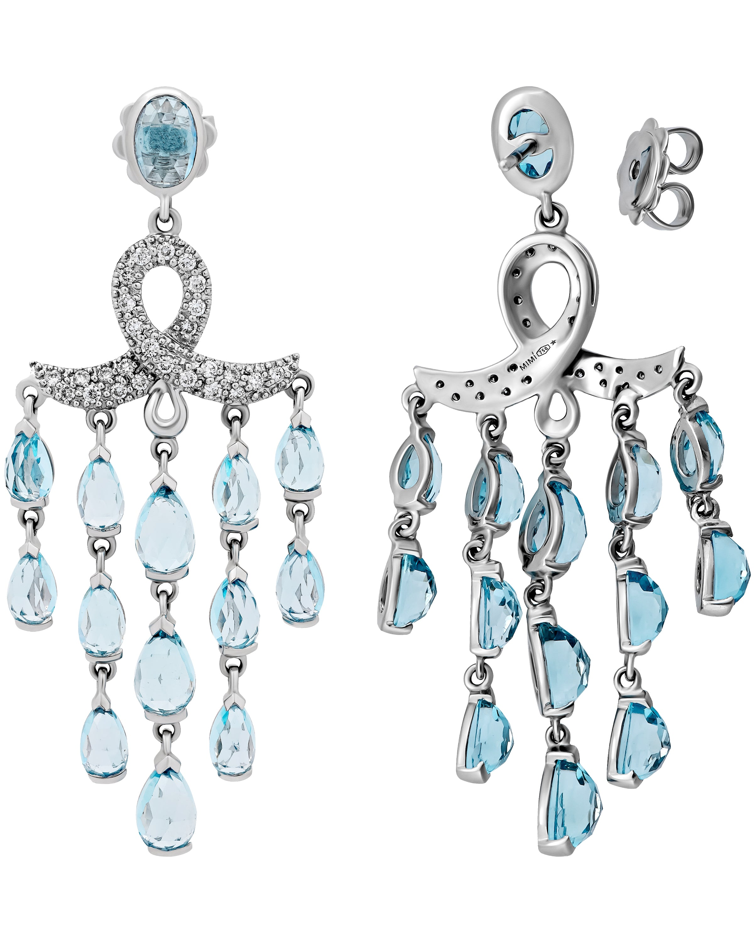 Mimi Milano 18K White Gold, Diamonds and Sky Blue Topaz Earrings O382B8TB