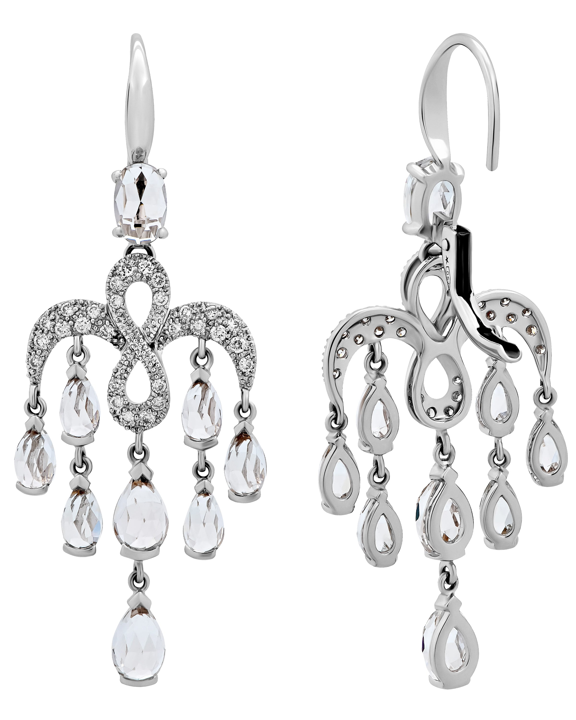 Mimi Milano 18K White Gold, Diamonds And White Topaz Earrings O383B8T1B