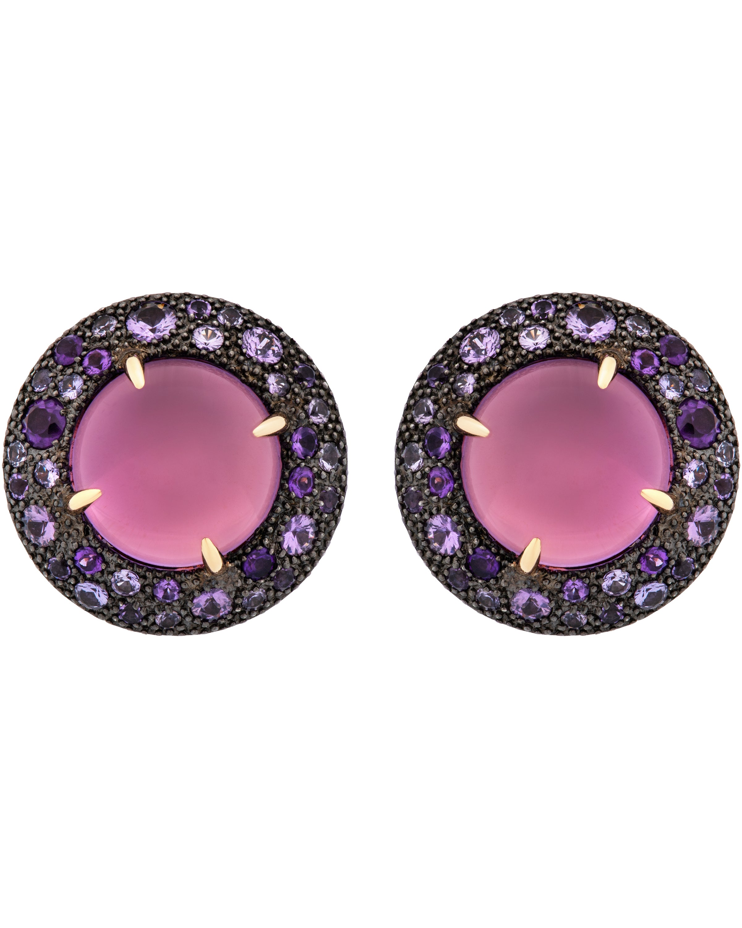 Mimi Milano 18k Gold 925 Silver Violet Sapphires and Amethyst Earring O457C8AZ3