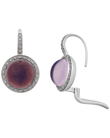 Mimi Milano 18k White Gold Diamond And Lavender Moonstone Earring O458B8MLB