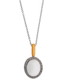 Mimi Milano 18k White And Rose Gold White Agate And Diamond Pendant P320C8A1B