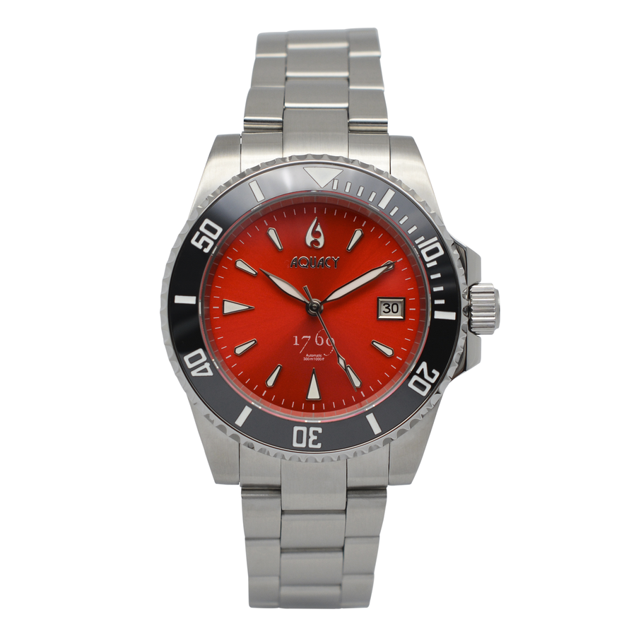 Aquacy 1769 Hei Matau Men's Automatic 300M Red Dive Watch 1769.R.B.S