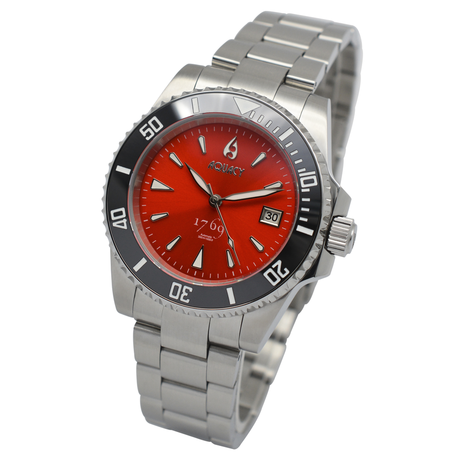 Aquacy 1769 Hei Matau Men's Automatic 300M Red Dive Watch ETA 2824 1769.R.B.S.ET