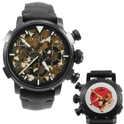 Pinup DNA Black WWII Sue Phone Chronograph Automatic Men's Watch RJ.P.CH.002.01-Luxury Watches | Mens And Ladies Luxury Watches | Upscale Time