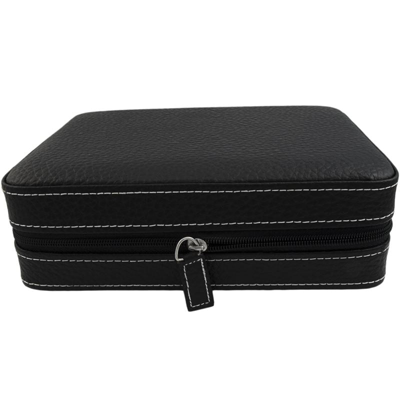 4 Watch Travel Case Black Buffalo Calf-Luxury Watches | Mens And Ladies Luxury Watches | Upscale Time