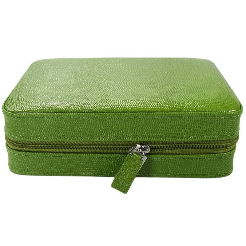 4 Watch Travel Case Leather Green Lizard Pattern-Luxury Watches | Mens And Ladies Luxury Watches | Upscale Time