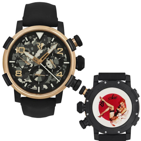 Pinup DNA Gold WWII Sue Phone Chronograph Auto RJ.P.CH.003.011-Luxury Watches | Mens And Ladies Luxury Watches | Upscale Time
