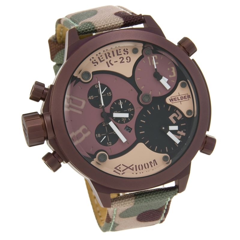 Triple Time Zone Chronograph Camouflage Strap Men's Luxury Watch K29-8005-Luxury Watches | Mens And Ladies Luxury Watches | Upscale Time