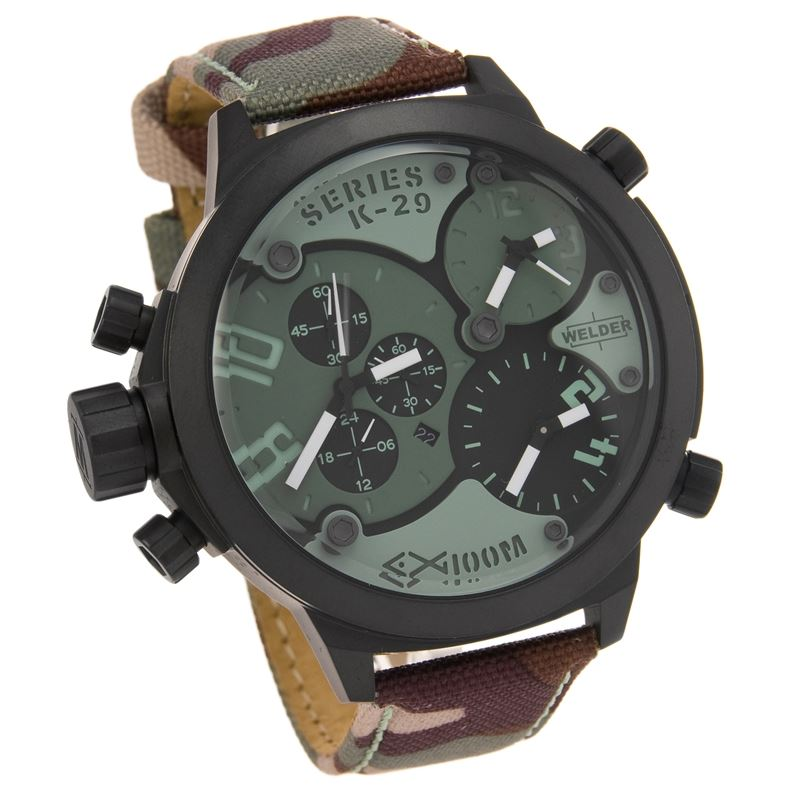 Triple Time Zone Chronograph Camouflage Strap Men's Luxury Watch K29-8004-Luxury Watches | Mens And Ladies Luxury Watches | Upscale Time