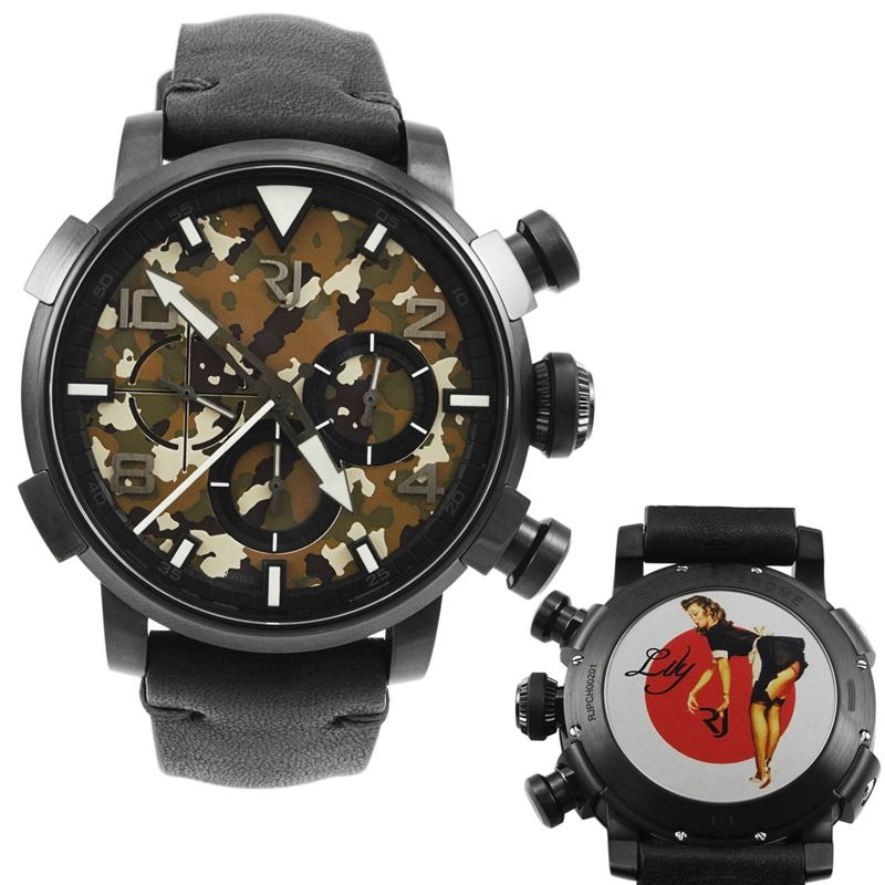 Pinup DNA Black WWII Lily Maid Chronograph Automatic Men's Watch RJ.P.CH.002.01-Luxury Watches | Mens And Ladies Luxury Watches | Upscale Time