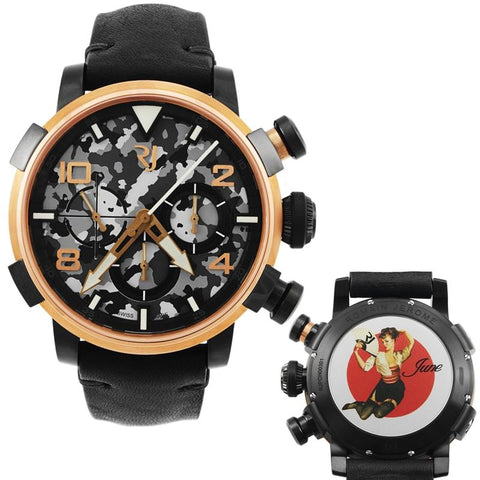 Pinup DNA Red Gold WWII June Fan Chronograph Automatic Men's Watch RJ.P.CH.003.01-Luxury Watches | Mens And Ladies Luxury Watches | Upscale Time