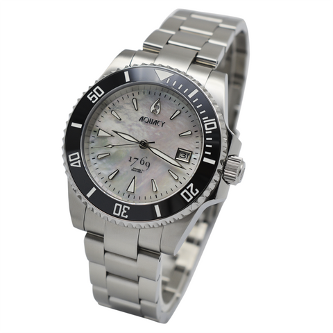 Aquacy 1769 Hei Matau Men's Automatic 300M White Diver MOP Watch ETA 2824 1769.WMP.B.S.ET
