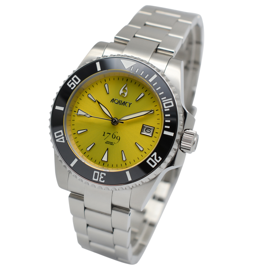 Aquacy 1769 Hei Matau Men's Automatic 300M Yellow Diver Watch ETA 2824 1769.Y.B.S.ET