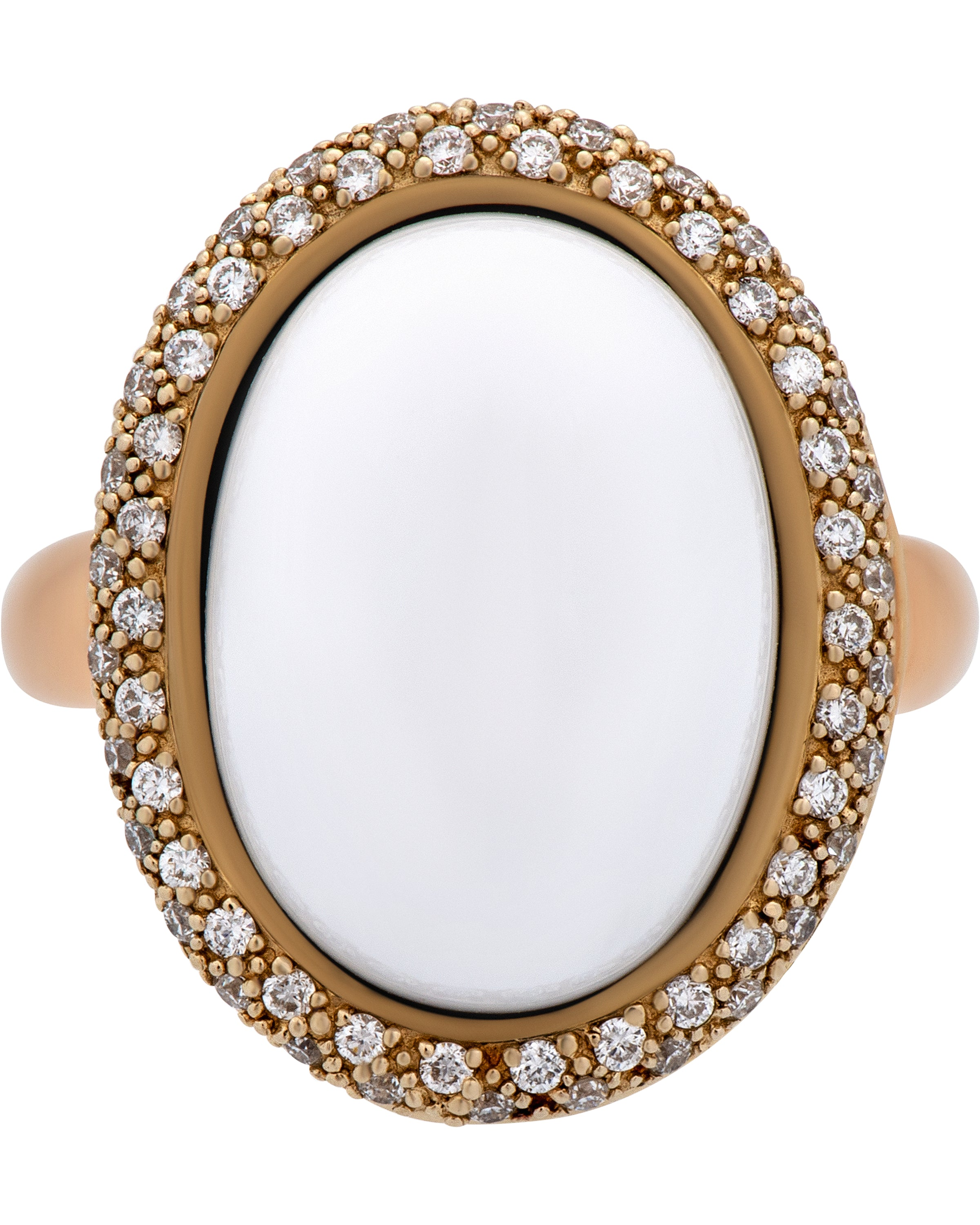 Mimi Milano 18k Gold Diamond And White Agate Ring a222c8a1b