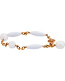 Mimi Milano 18k Rose Gold, White Pearls and White Agate Bracelet b251r1a1