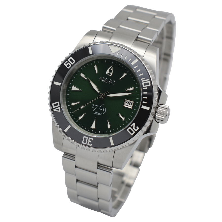 Aquacy 1769 Hei Matau Men's Automatic 300M Green Dive Watch ETA 2824 1769.GR.B.S.ET