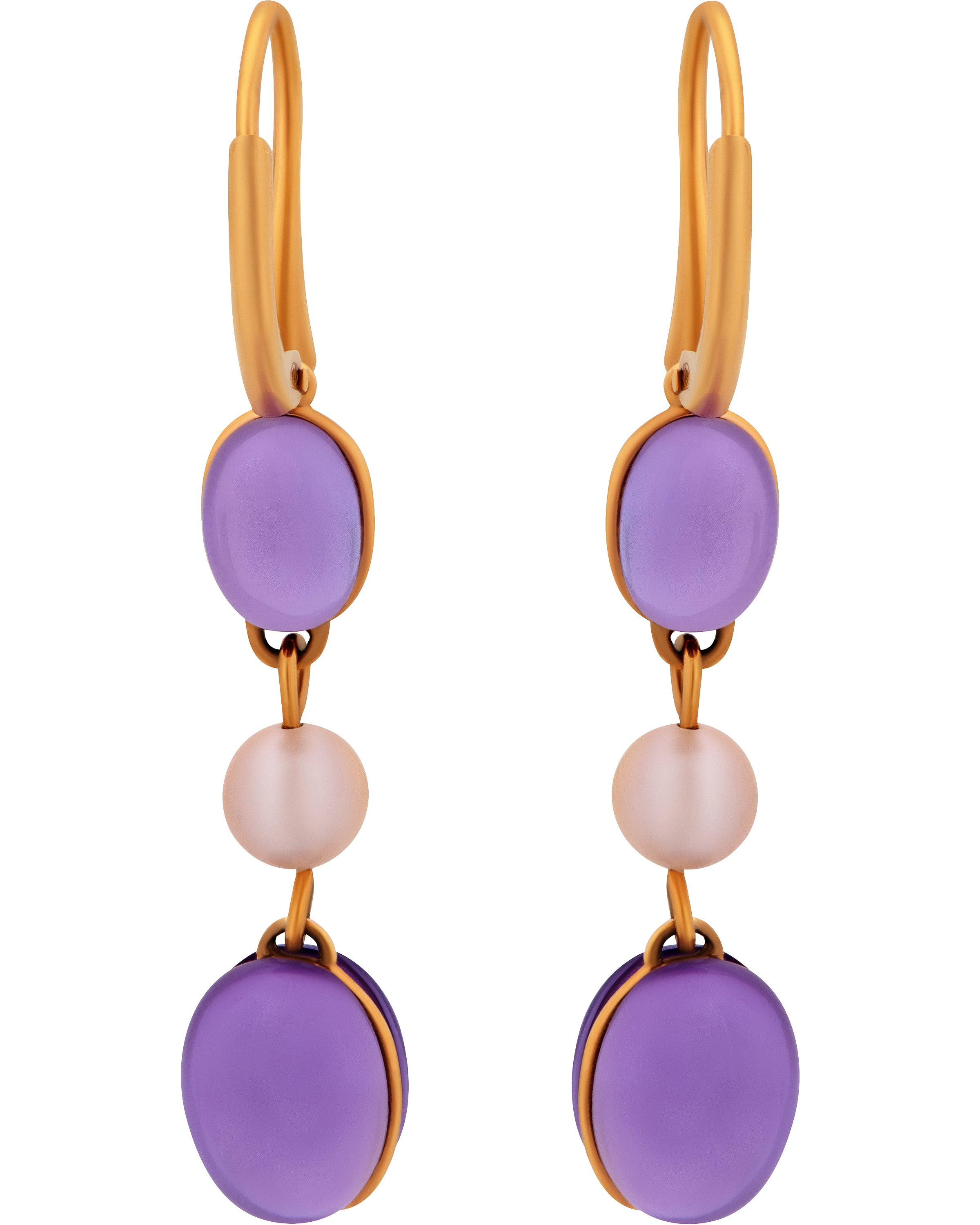 Mimi Milano 18k Rose Gold Violet Cultured Pearl And Amethyst Earring o263r3a